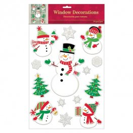 Snowman Embossed Vinyl Window Decorations