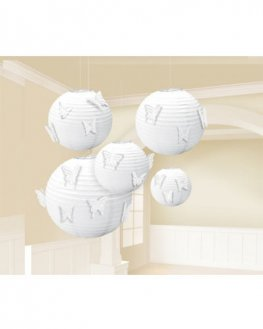 White Butterfly Lanterns 5pk