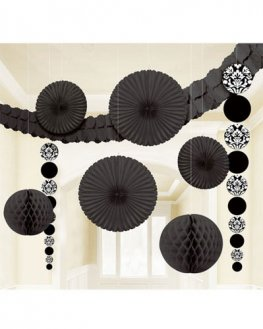 Black Damask Party Decoration Kit