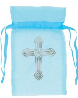 Religious Blue Organza Favour Bag 12pk