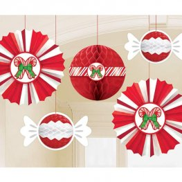 Christmas Peppermint Honeycomb Decoration Pack 5pk