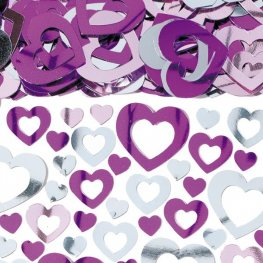 Multi Pink On Pink Heart Shimmer Metallic Confetti