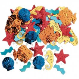 Luau Sea Life Embossed Metallic Confetti