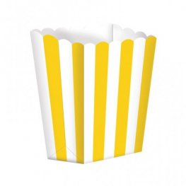 Sun Yellow Candy Buffet Popcorn Treat Boxes x5