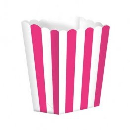 Bright Pink Candy Buffet Popcorn Treat Boxes x5