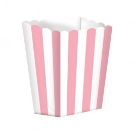 Light Pink Candy Buffet Popcorn Treat Boxes x5