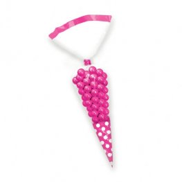 Bright Pink Candy Cone Polka Dot Bags x10