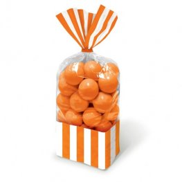 Orange Striped Party Bags x10