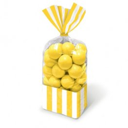 Sun Yellow Striped Party Bags x10
