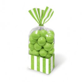 Kiwi Green Striped Party Bags x10