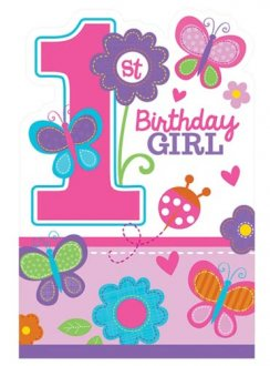 Sweet Birthday Girl Party Invitations x8