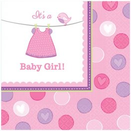 Shower With Love Baby Girl Luncheon Napkins 16pk