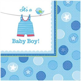 Shower With Love Baby Boy Luncheon Napkins 16pk