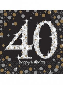 40th Birthday Gold Celebration Napkins 16pk