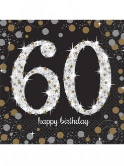 60th Birthday Gold Celebration Napkins 16pk