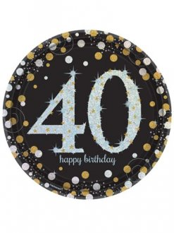 40th Birthday Gold Celebration Plates 8pk
