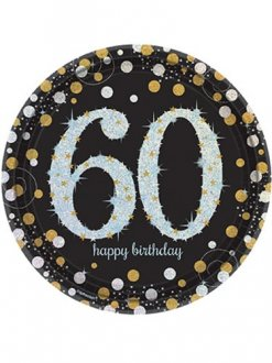 60th Birthday Gold Celebration Plates 8pk