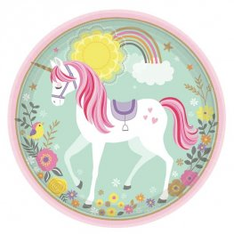 Magical Unicorn 23cm Paper Plates 8pk