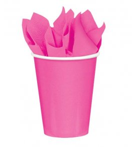 Bright Pink Paper Cups 8pk