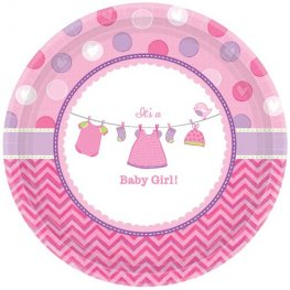 Shower With Love Baby Girl Paper Plates 8pk