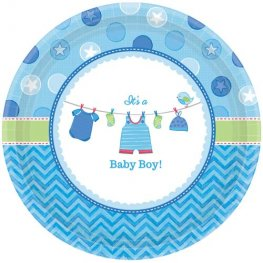 Shower With Love Baby Boy Paper Plates 8pk