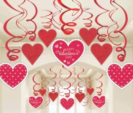 Red And White Hearts Swirl Decoration