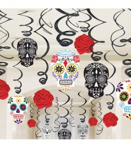 Day Of The Dead Swirls Decorations 30pk