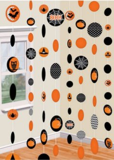 Orange & Black Paper String Decorations