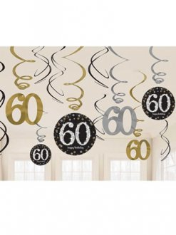 60th Gold Celebration Swirl Decoration