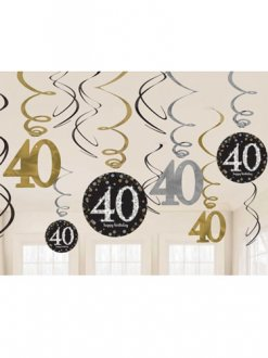 40th Gold Celebration Swirl Decoration