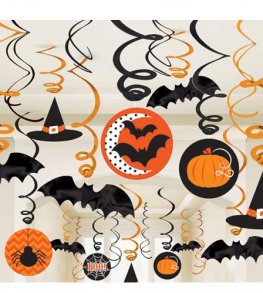 Orange & Black Swirls Decorations 30pk