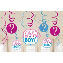 Girl Or Boy Hanging Swirl Decorations 12pk