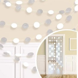 White Glitter String Decorations