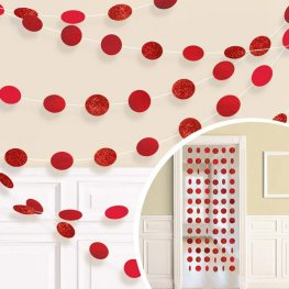 Apple Red Glitter String Decorations
