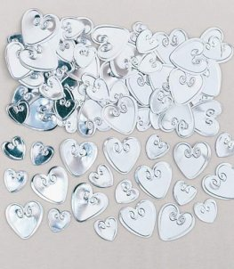 Silver Embossed Loving Hearts Metallic Confetti