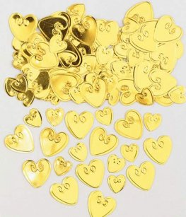 Gold Embossed Loving Hearts Metallic Confetti