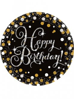 Birthday Gold Celebration Plates 8pk