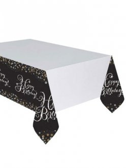 Birthday Gold Celebration Tablecover 1pk