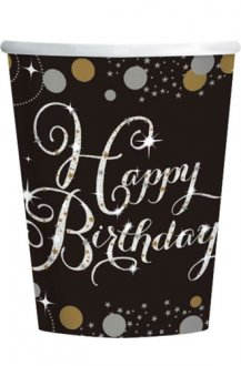 Birthday Gold Celebration Cups 8pk