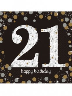 21st Birthday Gold Celebration Napkins 16pk