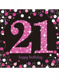 21st Birthday Pink Celebration Napkins 16pk