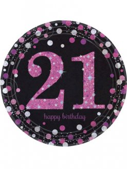 21st Birthday Pink Celebration Plates 8pk
