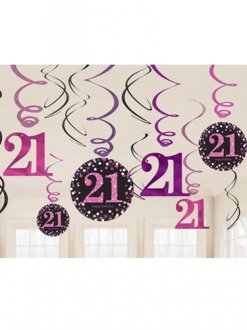 21st Pink Celebration Swirl Decoration