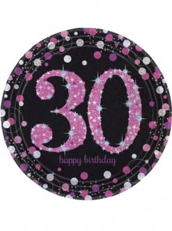 30th Birthday Pink Celebration Plates 8pk