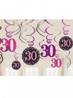 30th Pink Celebration Swirl Decoration
