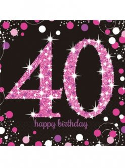 40th Birthday Pink Celebration Napkins 16pk