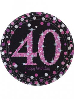 40th Birthday Pink Celebration Plates 8pk