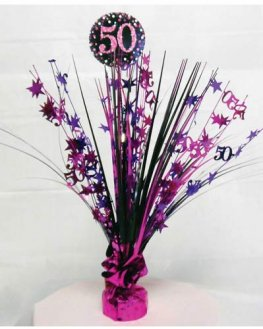 Pink Celebration 50th Centrepiece Spray 1pk