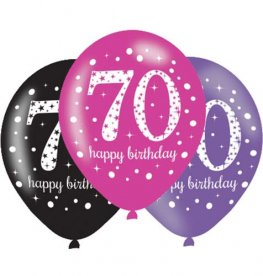 "11"" Pink Celebration 70th Birthday Latex Balloons 6pk"