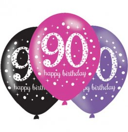 "11"" Pink Celebration 90th Birthday Latex Balloons 6pk"
